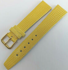 18mm Regular Unisex Genuine Leather Yellow Simulated Lizard Grain Watch Band