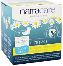 Natracare Organic Cotton Natural Ultra Pads Super with Wings 12 ea