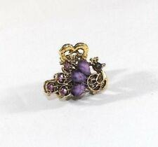 Brand New 3D Gold Tone Vintage Peacock Hair Clip Claw w/Purple Crystals