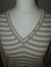 BETTY BARCLAY  STRIPED V NECK  COTTON JUMPER  SIZE  UK  12
