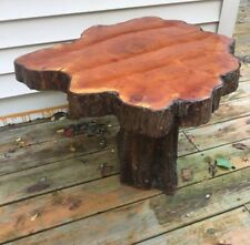 "70's Red Wood Pine Table High Gloss Hand Made 19""H X 27"" Diameter Rustic Cabin"