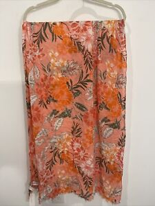 Ann Taylor Loft Outlet Pink Floal Scarf/Cover Up O/S