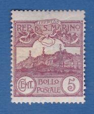 San Marino 1925 veduta 5c lilla bruno MH* linguellato retro segni matita pencil