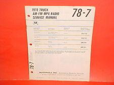 1978 INTERNATIONAL HARVESTER MACK TRUCK MOTOROLA AM-FM-MPLX RADIO SERVICE MANUAL