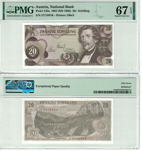 Austria 20 Shilling 1967 Pick# 142a PMG: 67 EPQ GEM UNC. (#2638)