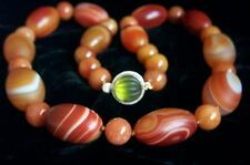 """ONE OF A KIND - Chinese Large Jade Red Dzi Eye Agate Necklace 24 1/2"""" 209.3 g"""