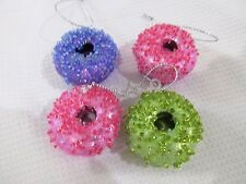 Christmas Beaded Mini Donuts Ornaments Decorations Set of 4
