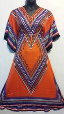 Women Kaftan Caftan Summer Boho Dashiki  Maxi Dress Beach Orange Plus Size