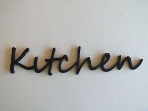 """Wooden """"Kitchen"""" Plaque Words/Letters Home/Door/Wall...Black or Unpainted."""