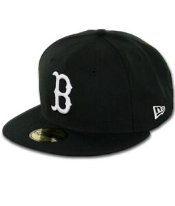 "New Era 59Fifty Boston Red Sox ""BK WH BK"" Fitted Hat (Black/White) Men's MLB Cap"