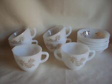 VINTAGE FEDERAL GLASS GOLDEN GLORY SNACK PLATES /CUPS & SUGAR / CREAMER CUPS