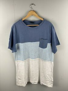 Rip Curl Men's Short Sleeve T Shirt - Relaxed Fit - Size XL - Blue White Stripe