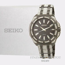 Authentic Seiko Men's Swarovski Crystal Black Stainless Steel Watch SNE459