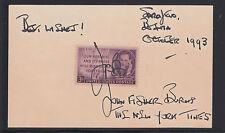 John Burns, Ny Times double Pulitzer Prize winner, signature on card, Vf