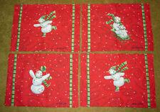 givré FROLIC Bonhomme de neige Noël tapisserie Set de table set ~ Set/4