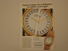 advertising Pubblicità 1985 OROLOGIO WINTEX