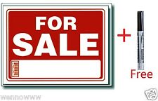 "5 Pcs 9 x 12 Inch Plastic "" For Sale "" Sign with a Free Erasable Marker"