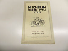 Ciclo del motor original lista de precios de neumáticos Michelin 1950 FOLLETO BSA Norton
