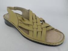 Ladies Leather Woven Slingback Sandals Olive UK 6 EU 39 LN084 EE 03