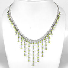 MAGNIFICENT NATURAL GREEN PERIDOT-WHITE TOPAZ STERLING 925 SILVER NECKLACE 20""