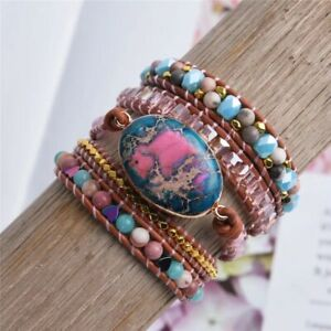 Natural Gemstone Beaded Impression Jasper Geode Wrap Bracelet Beads Hearts Gold