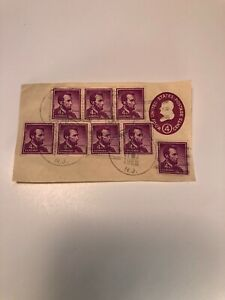 Abraham Lincoln 4 cent Vintage Stamps, Canceled 1961, Collectors Card 8 Stamps