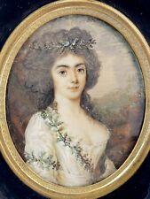 Portrait Jeune Femme Miniature Peinture Fin du XVIIIè Siècle Melle de Neuvillle