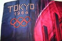 FOULARD CARRE DE SOIE COMMEMORATIF DES JEUX OLYMPIQUE DE TOKYO EN 1964  RARE