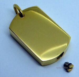 Dogtag Cremation Urn Ashes Necklace Keepsake Pendant 24k Gold Plated
