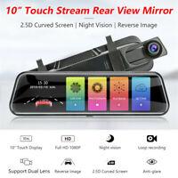 "10"" Car Dash Cam 1080P Touch Screen DVR Camera Rear View Mirror Video Recorder"