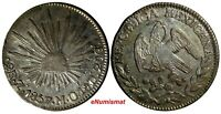 Mexico FIRST REPUBLIC Silver 1857 Zs MO 2 Reales  Zacatecas Mint KM#374.12