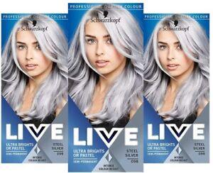 3xSchwarzkopf LIVE Ultra Bright or Pastel Grey Hair Dye Semi-Permanent 098 Steel