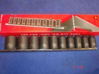 "Teng 9121 Metric Impact Socket Set 10 Piece 1/2"" Drive on Rail 10mm - 24mm"