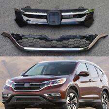 Front Chrome Upper + Lower Grille Grills Set For Honda CRV 2015-2016