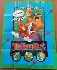 Vintage Double Sided SEGA GENESIS Toe Jam & Earl Poster  - In Good Condition