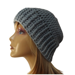Women's Crochet Beanie Grey Pink Acrylic M Size Teens Ladies Girls Knit Hat Cap