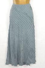 Detalle de diagonal de seda azul-gris Maxi Falda Uk 14