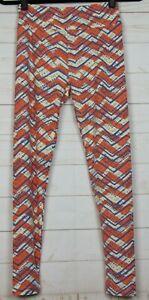 Lularoe Women's Leggings One Size OS Orange, Cream, & Blue New - A3102