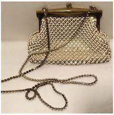 Whiting & Davis Metal Mesh Purse Handbag with Enamel Ivory Pearls