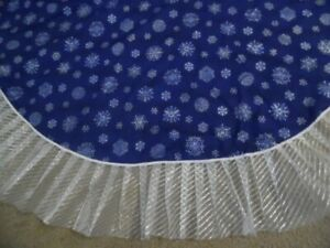Blue snow flakes with silver shimming Ruffle 52 inches Christmas Skirt