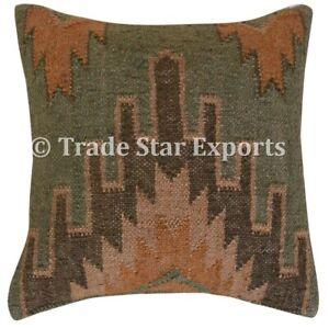 Vintage Kilim Jute Cushion Cover 18x18 Hand Woven Rug Pillow Case 2 Pcs Cushions