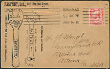 1915 Fastnut Spanners and Ratchets Advertising Envelope London to Altoona USA