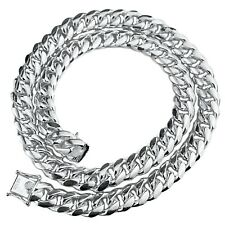"Mens Real Solid 925 Sterling Silver Miami Cuban Chain Heavy Necklace 24"" x 12 mm"