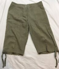 Chico's Pedal Pusher Shorts Size 0 Brown Flat Front Linen Blend Pockets Womens