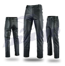 Mens Motorbike Motorcycle Fashion Cowhide Top Grain Leather Jeans Trouser