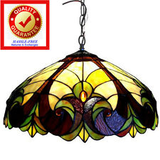 Victorian Tiffany Style Hanging Lamp Handcut Stained Glass Brown Yellow