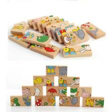 Wooden Puzzles Domino Animals Blocks Kids Baby Early Learning Toys LC