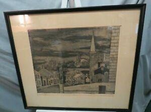 "Vtg 1973 Historic Galena Spires 24"" x 22"" Framed Print Signed CH Johnson 18/100"