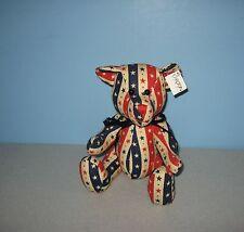 "New Carlton Cards 9"" Stars & Stripes American Teddy Bear Cloth Stuffed Plush"