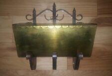 Vintage Brass Saddle Bag Mailbox large curved ornate PATINA newspaper FREE SHIP!